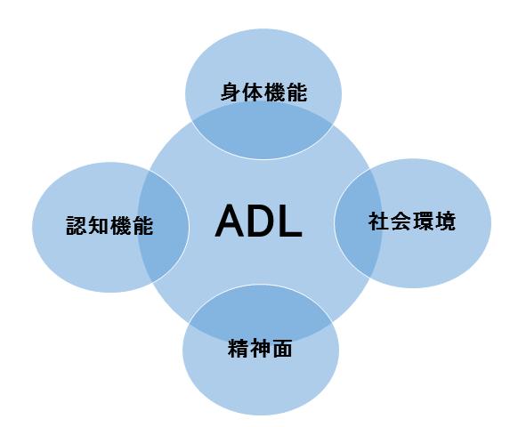 図:ADLと周辺機能の相関を表す図。身体、認知機能、精神面、社会環境は相互に作用しあっており、一つでも機能が低下するとADLの低下につながることを示す。