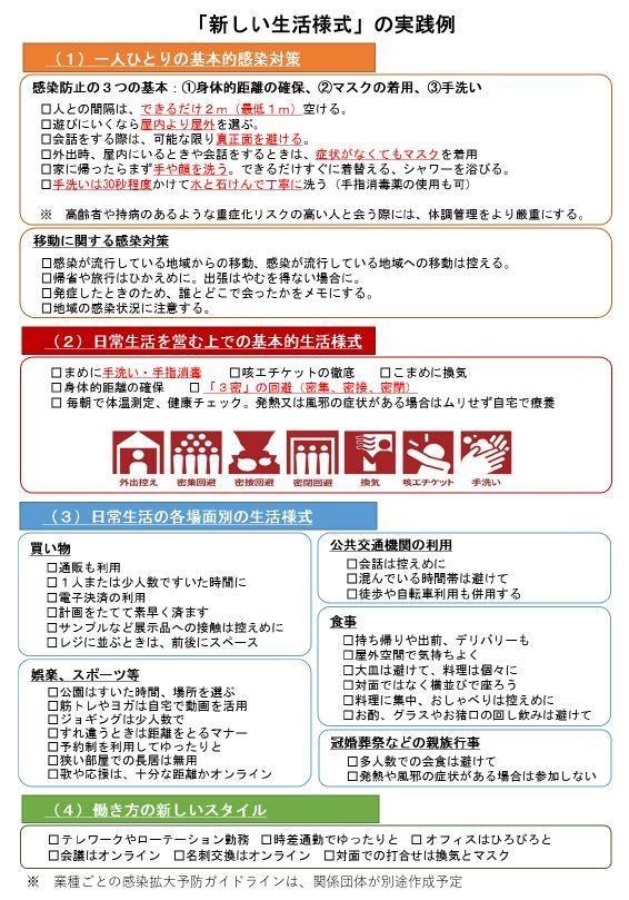図:新型コロナウイルス感染症対策における新しい生活様式の実践例