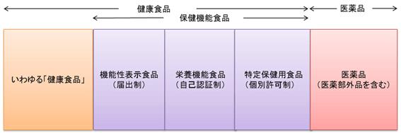 図:健康食品・保健機能食品・医薬品の分類を示す図