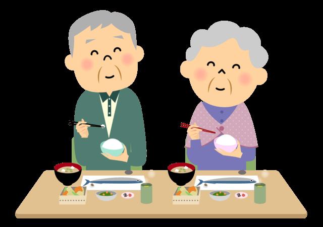食事に日本の代表的な食文化である和食と緑茶を取り入れる高齢者夫婦のイラスト。和食は健康で長生きするための秘訣であり、健康長寿を支えていると考えられています。