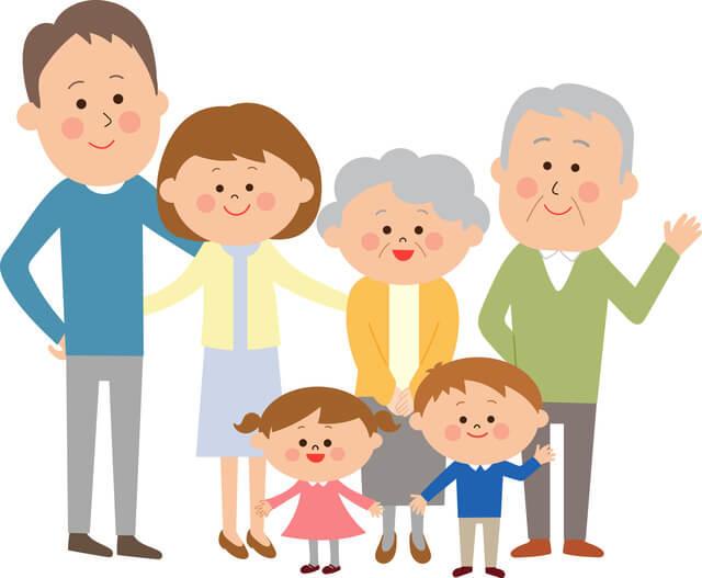 日本における超高齢社会を表す三世代家族のイラスト。日本は世界の国と比較すると、高齢社会を表す指標である高齢化率が世界一となっており、高齢化社会から高齢社会に至るまでの期間が短く、急速に高齢化が進みました。