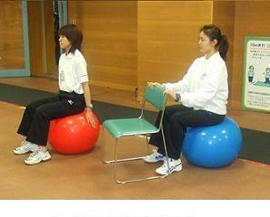 写真2:ボールに座った基本姿勢の様子