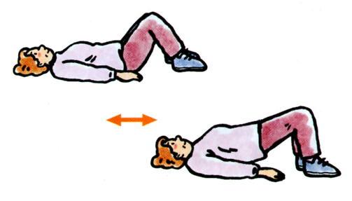 図2:背面筋群の運動を示すイラスト。仰向けになり、息を吐きながら腰を上げる運動