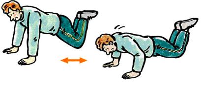 図3:腕立て伏せを示すイラスト。手を床に肩幅より広めにつき、膝またはつま先を床につける。肘をまげて状態をおろし、肘を延ばして元に戻る動作を繰り返す