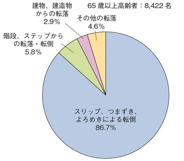 図3:転倒・転落・墜落による死亡の要因を示す図。スリップ、つまずき、よろめきによる転倒が86.7%を占める。